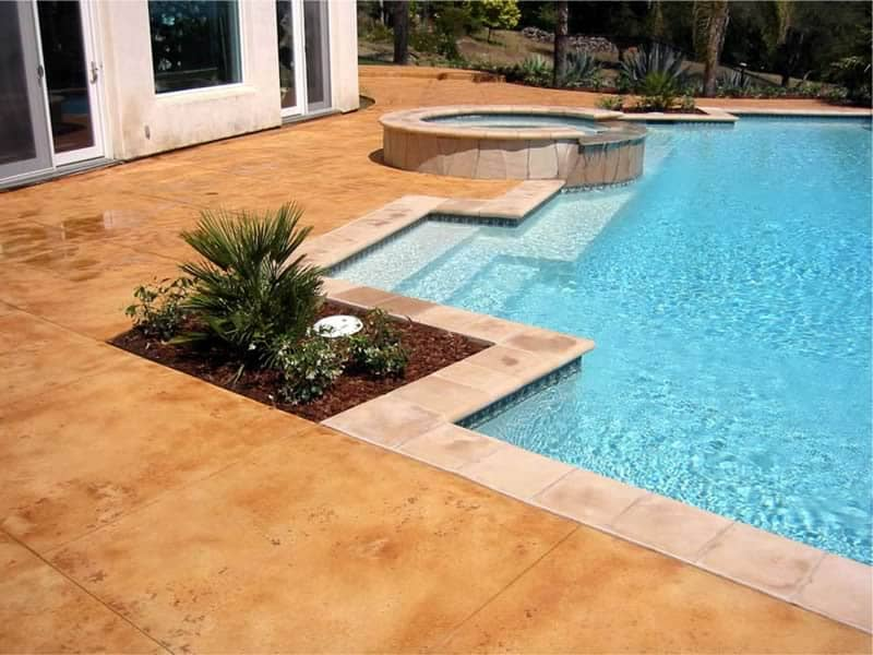 Concrete Stained Pool Deck Coating