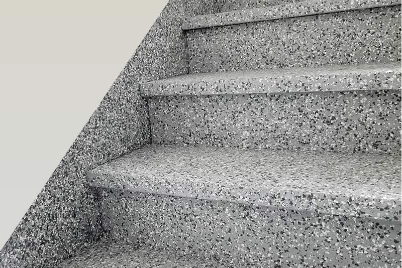 Flake Concrete Floor Coating Shown on Stairs
