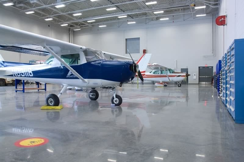 Polished Concrete in Airplane Hangar