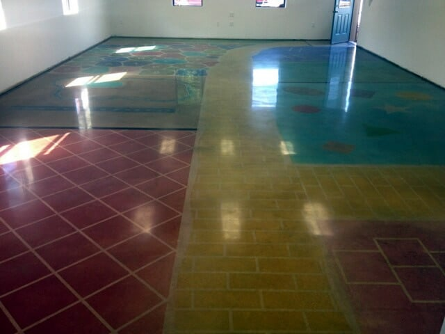 Polished Concrete Floor with Stencil at School