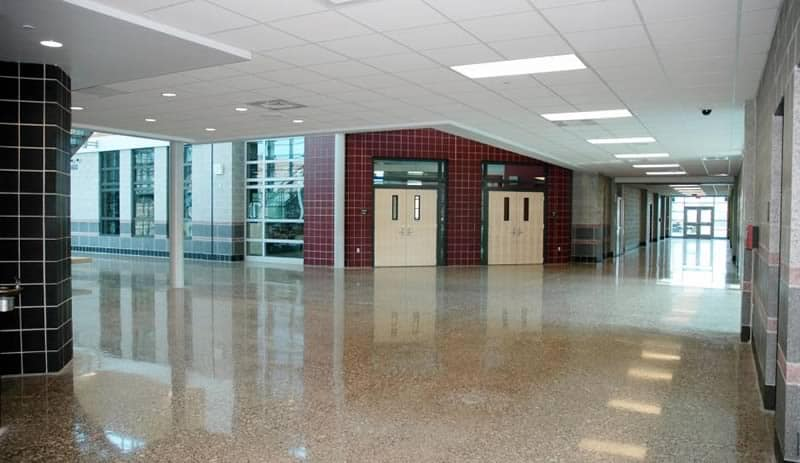 School Hallway Polished Concrete Floor Coating