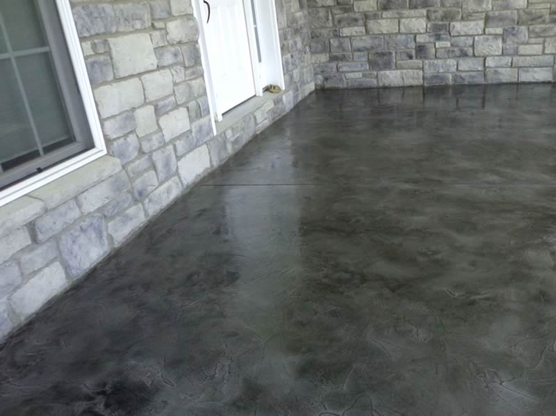 Stained Gray Overlayment on Front Porch
